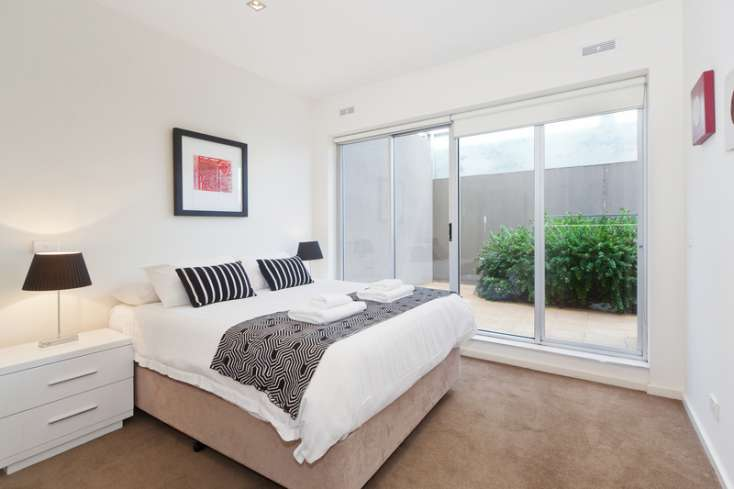 Second carpeted Master Queen Bedroom with designer soft furnishings in Luxury apartment in Armadale - 3/11-13 Wattletree Road