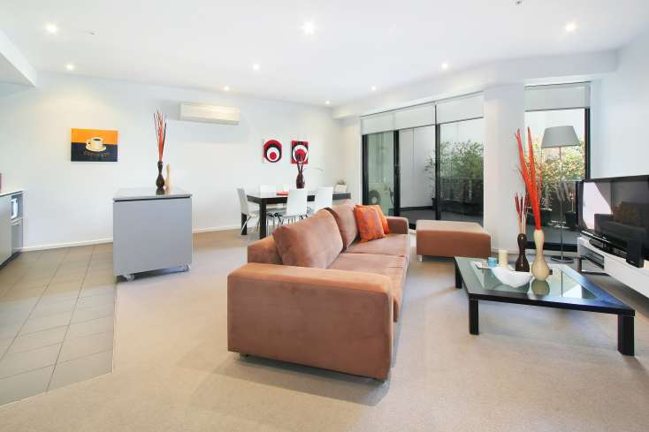 Kitchen, Living Room, Dining Room in Luxury Elsternwick apartment - 7/2 Gordon Street