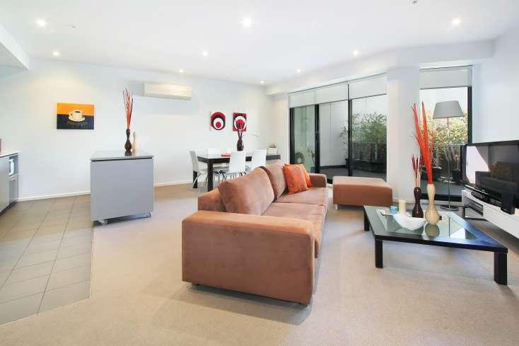 Kitchen, Living Room, Dining Room in Luxury Elsternwick apartment - 7/2 Gordon Street